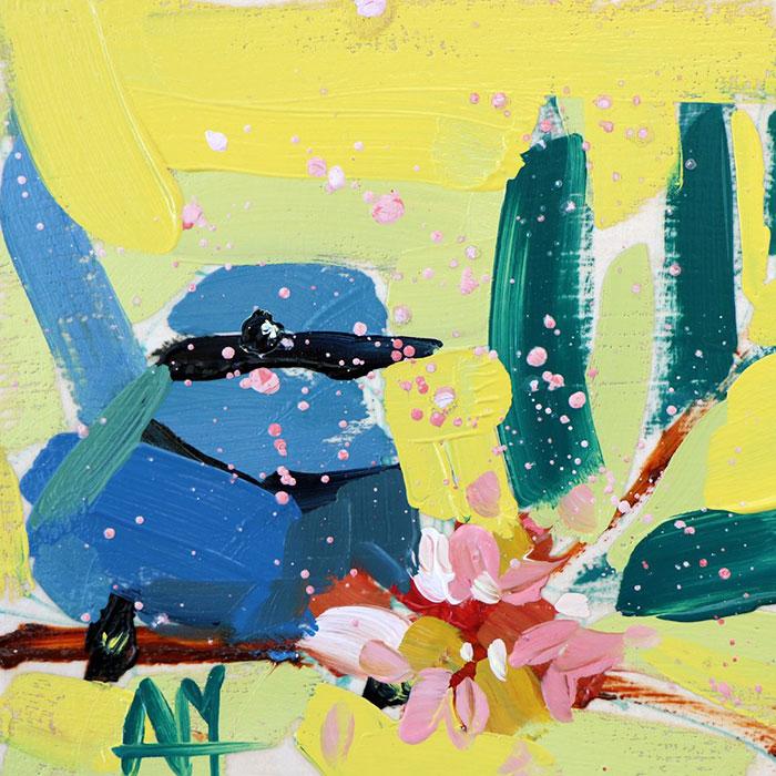 blue bird cute oil paintings bird art Angela Moulton