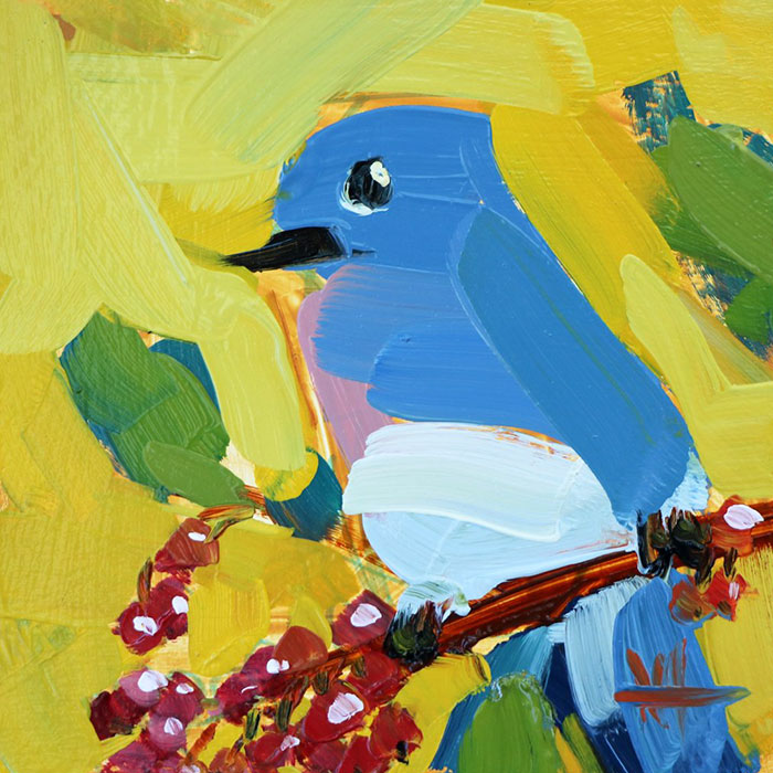 blue bird in yellow background oil paintings bird art Angela Moulton