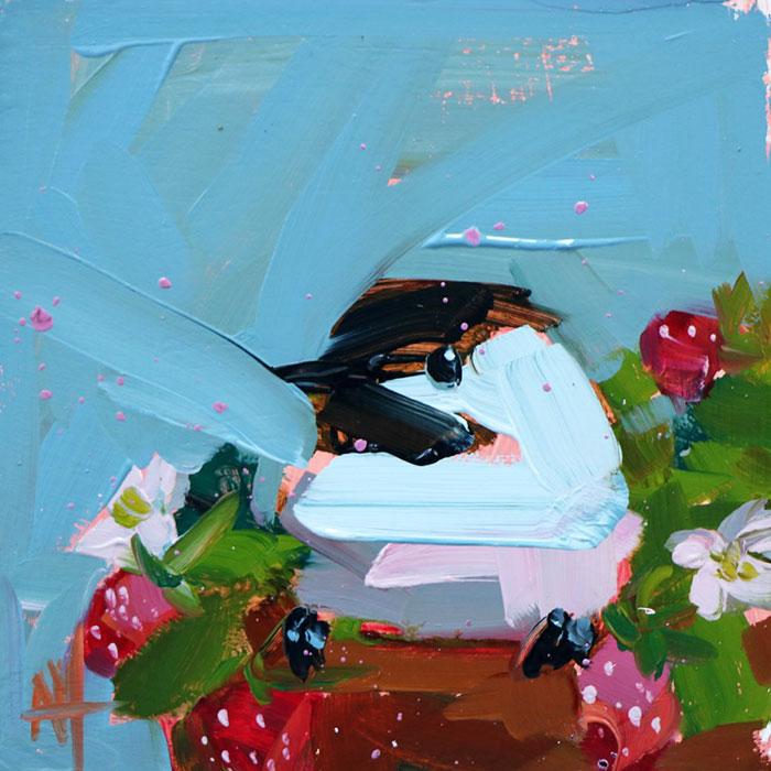 blue oil paintings bird art Angela Moulton