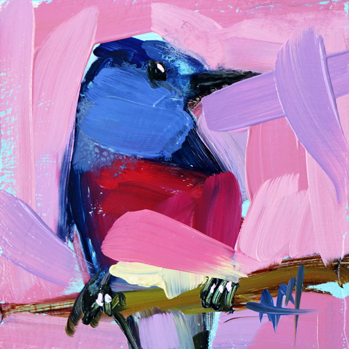 blue pinkish oil paintings bird art Angela Moulton