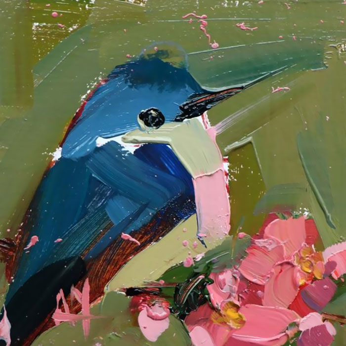 blue white oil paintings bird art Angela Moulton