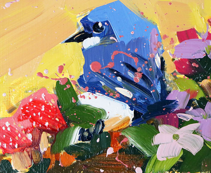 blue yellow background oil paintings bird art Angela Moulton