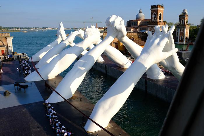 building bridges of unity sculpture installation