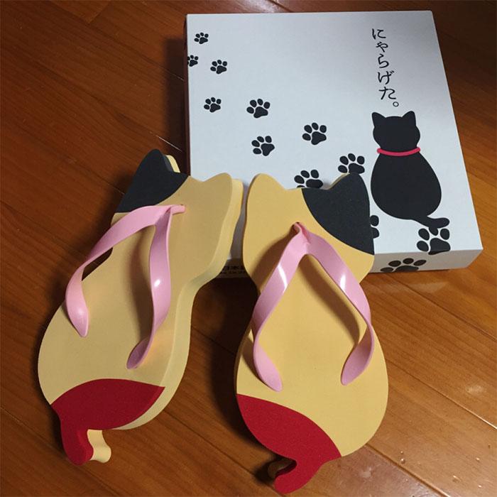 cat-shaped sandals japan nyara geta