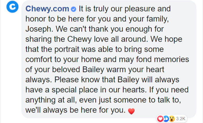 chewy reply pet store act of kindness customer service