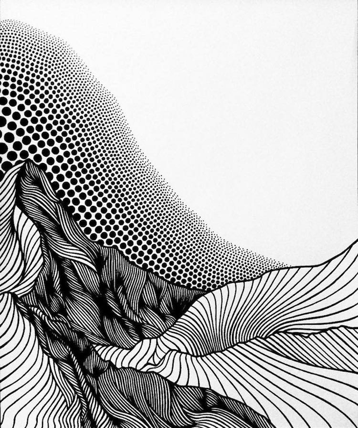 christa rijneveld pointillist line drawings flowing lines dots