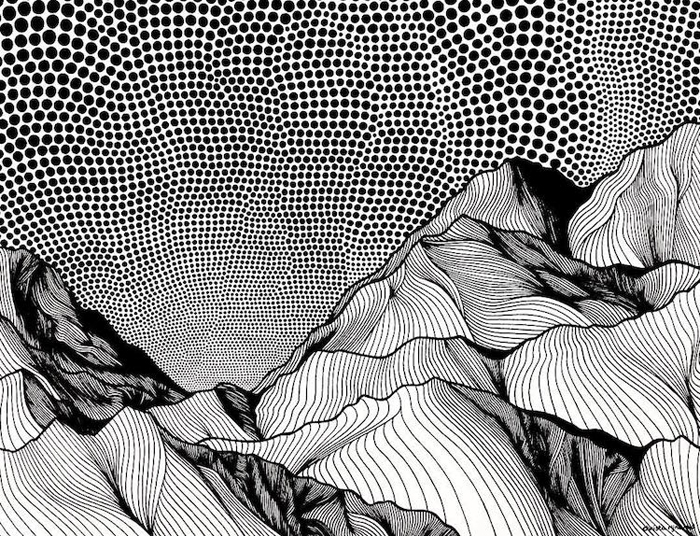 christa rijneveld pointillist line drawings mountain landscape