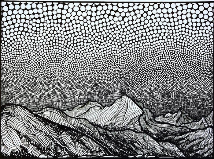 christa rijneveld pointillist line drawings mountainous scenery