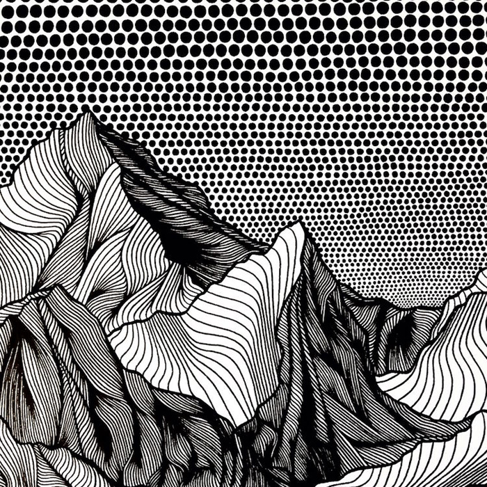 christa rijneveld pointillist line drawings mountains sky