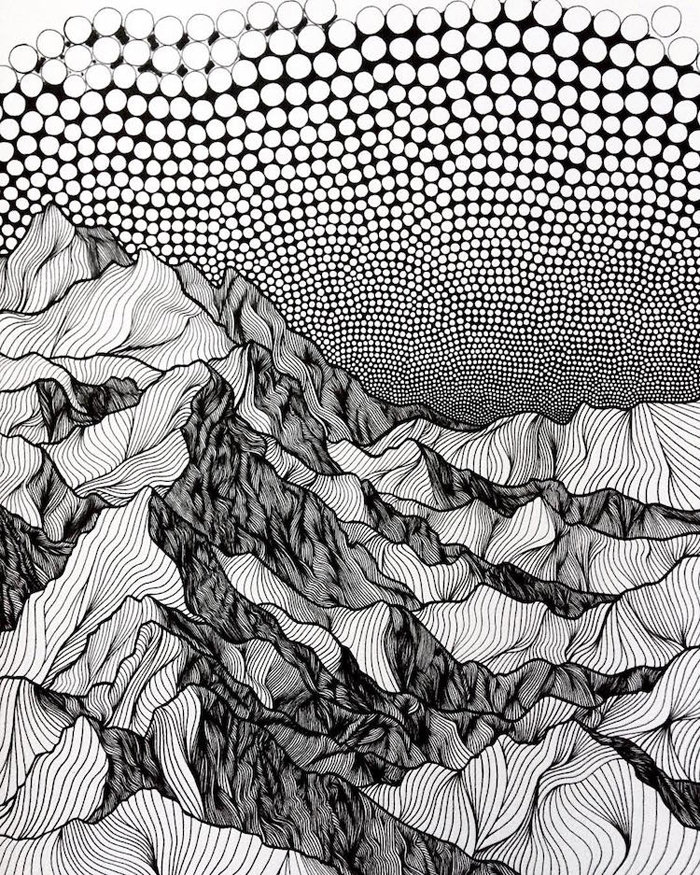 christa rijneveld pointillist line drawings mountains
