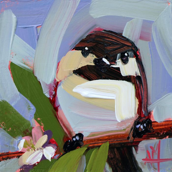 chubby oil paintings bird art Angela Moulton