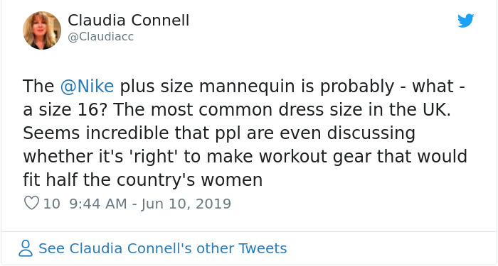 claudia connell nike plus size mannequin reactions