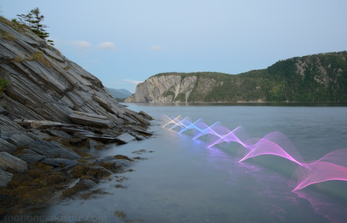 cliffs and stephen orlando kayak light paintings