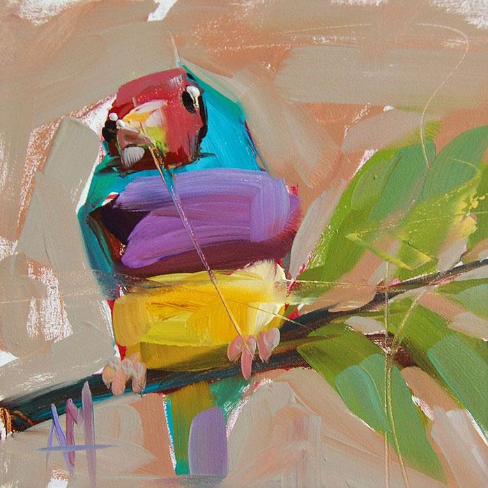 colorful cute bird oil paintings bird art Angela Moulton