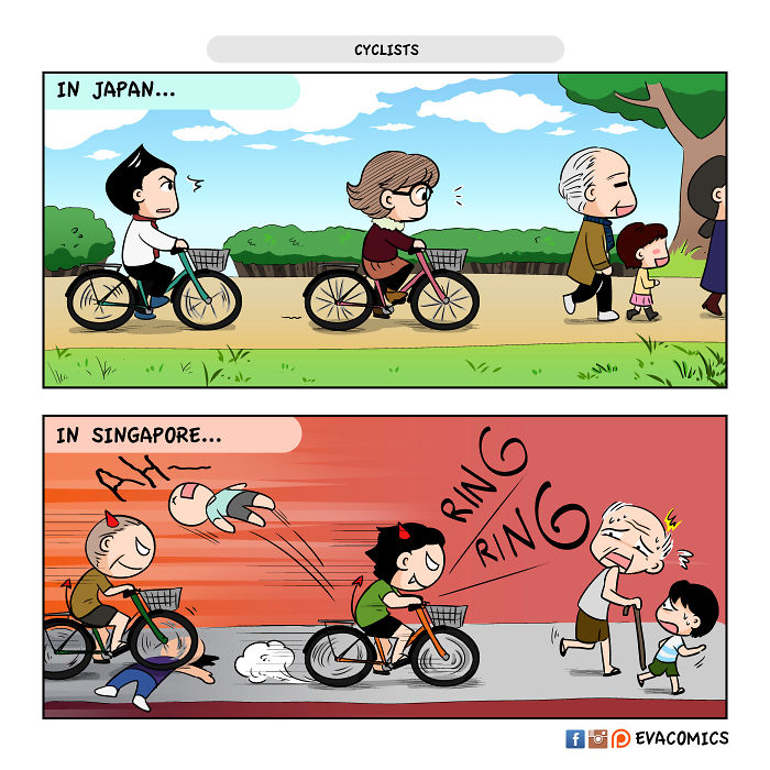 considerate cyclists comics japan cultural differences by evacomics