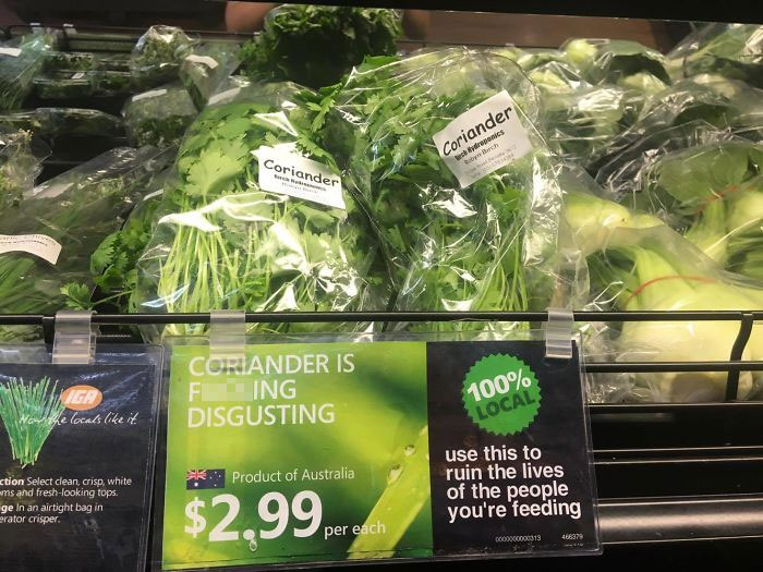 coriander haters funny memes supermarket label