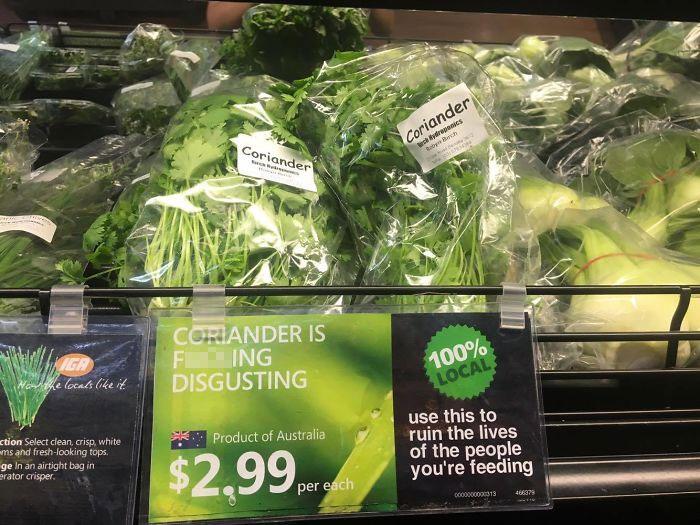 coriander haters funny memes supermarket label