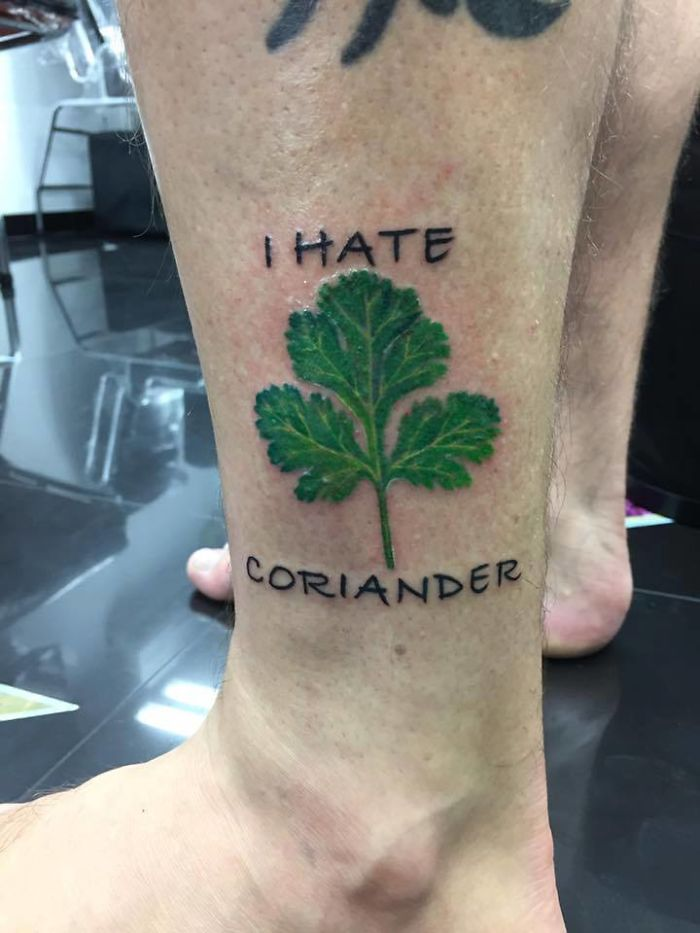 coriander haters funny memes tattoo