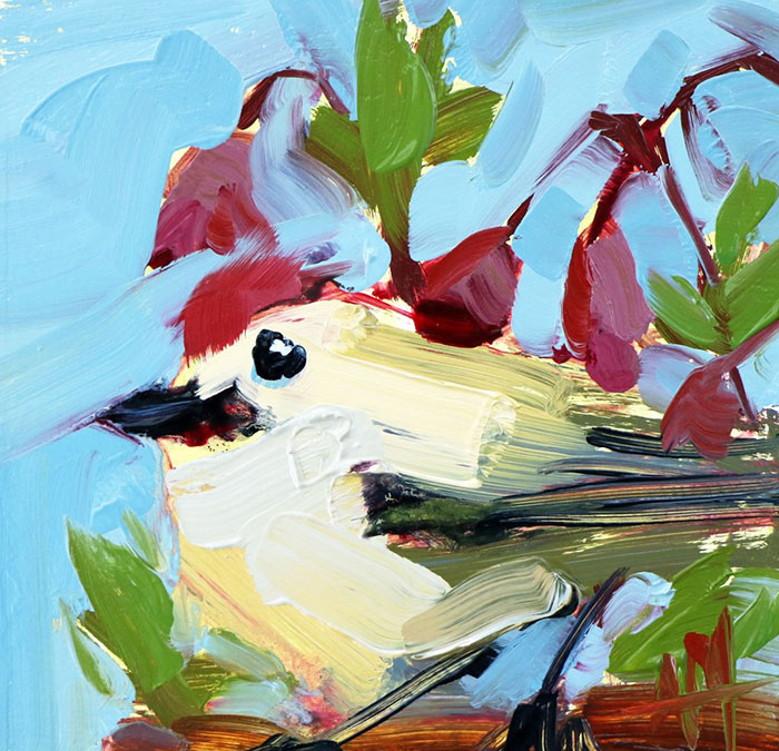 cute bird oil paintings bird art Angela Moulton