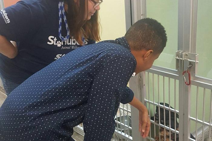 darius brown visits animal shelter