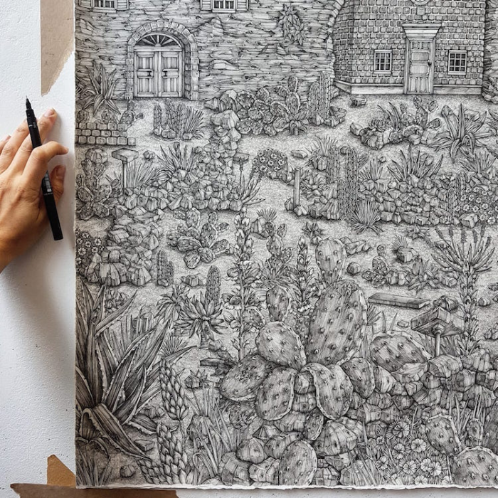 detailed pen drawings Olivia Kemp