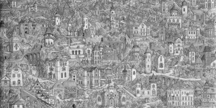 detailed pen drawings by British artist Olivia Kemp