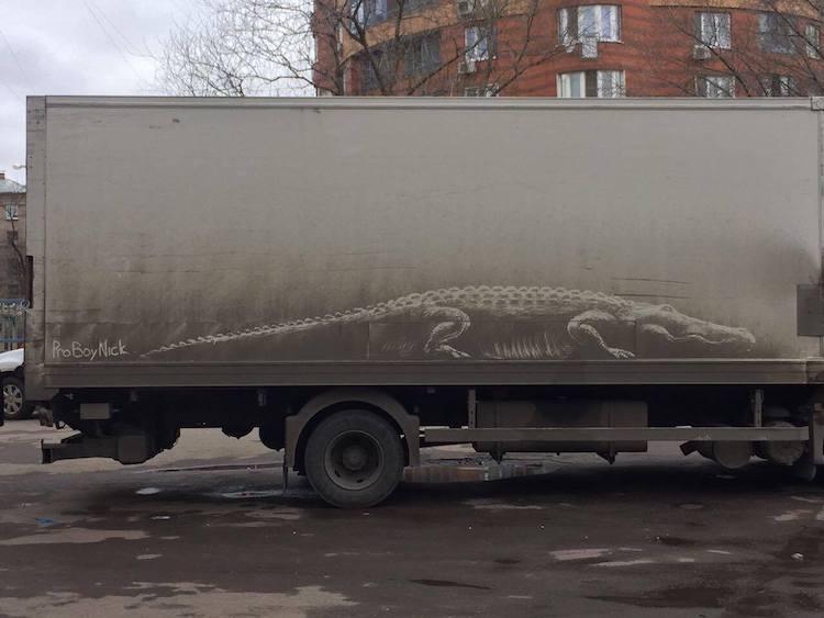 dirty cars art nikita golubev crocodile