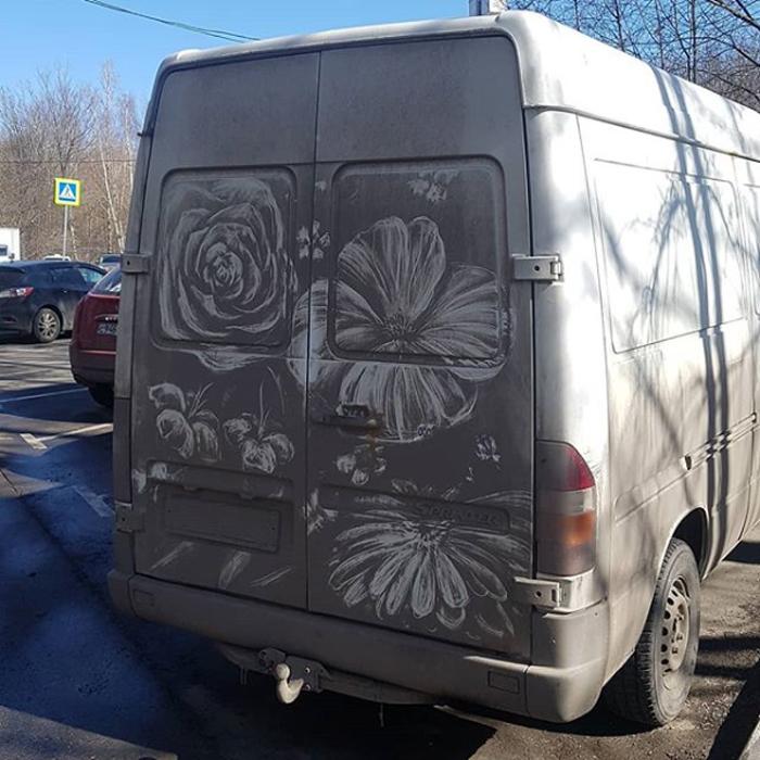 dirty cars art nikita golubev flowers