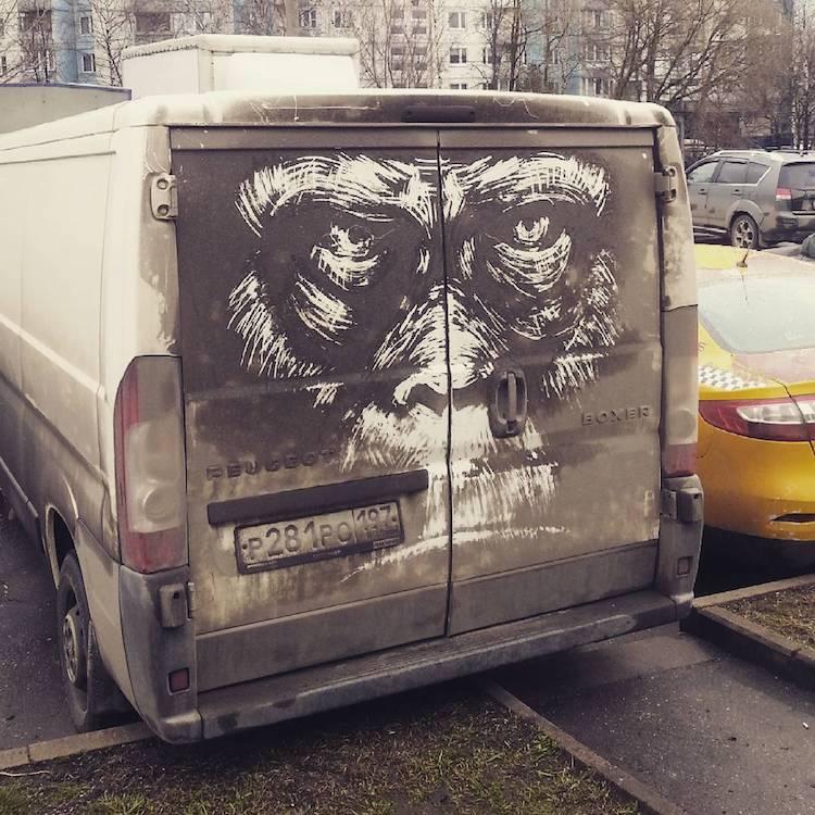 dirty cars art nikita golubev gorilla face