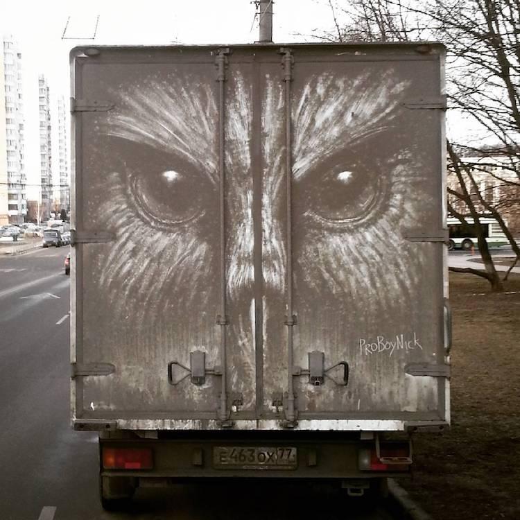 dirty cars art nikita golubev owl face