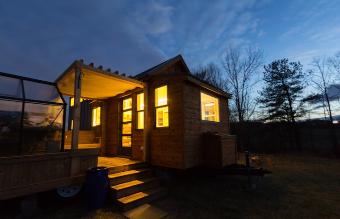 elsa by olive nest tiny homes night view