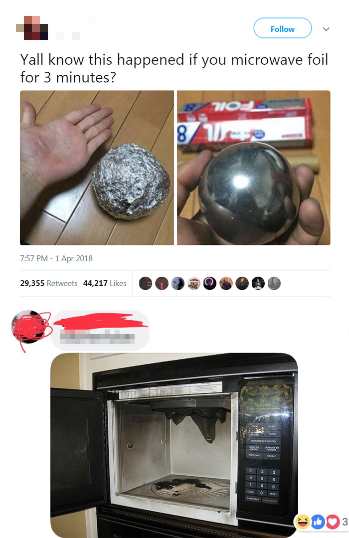embarrassing moments foil microwave