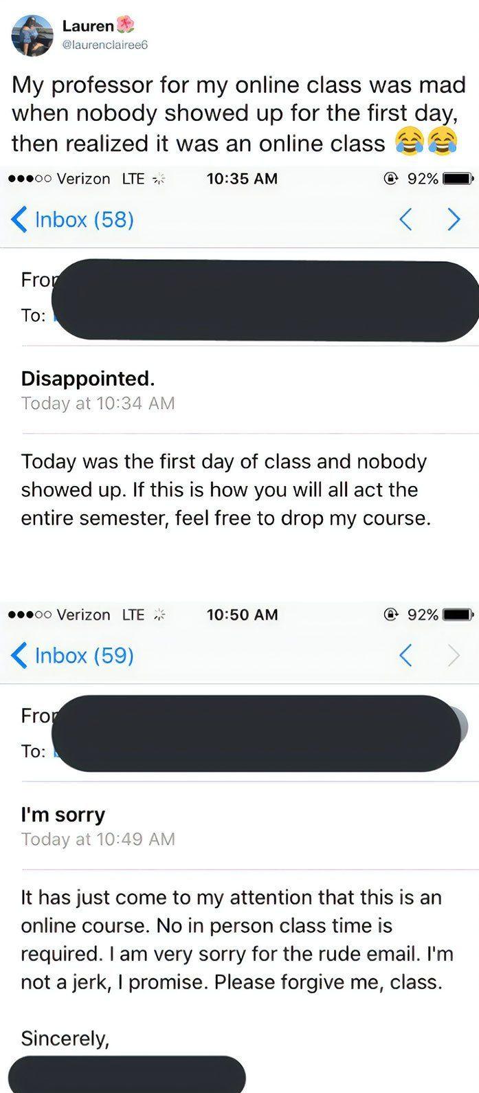 embarrassing moments online class attendance