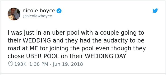 embarrassing moments uber pool wedding