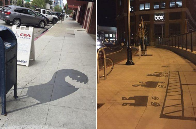 fake shadow street art