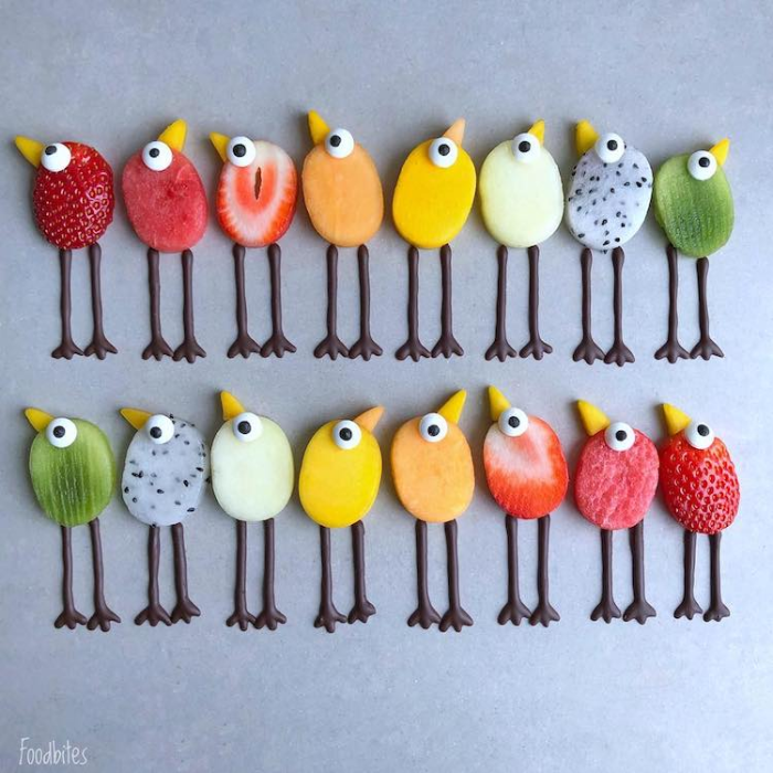 foodbites character food art birds
