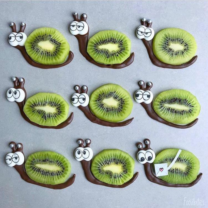 foodbites character food art kiwi snails