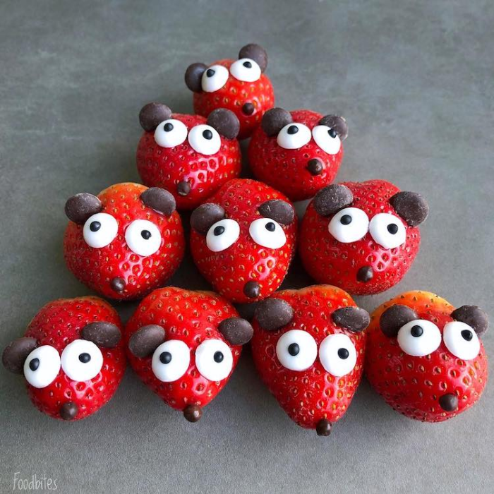 foodbites character food art strawberries