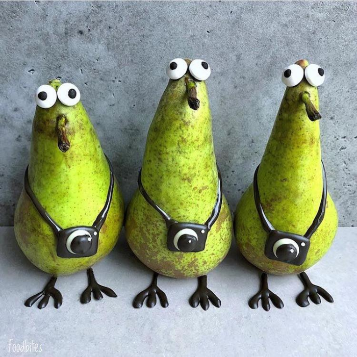 foodbites character food art three pears