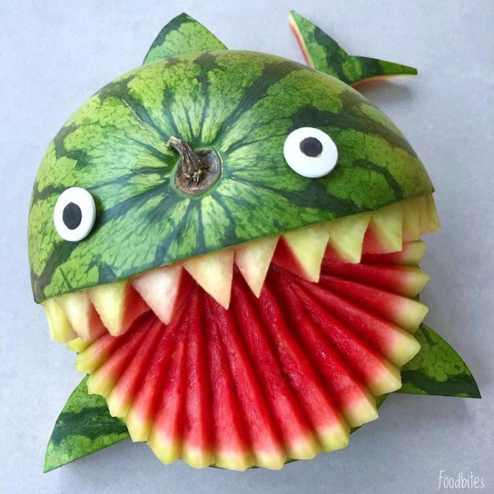 foodbites character food art watermelon fish