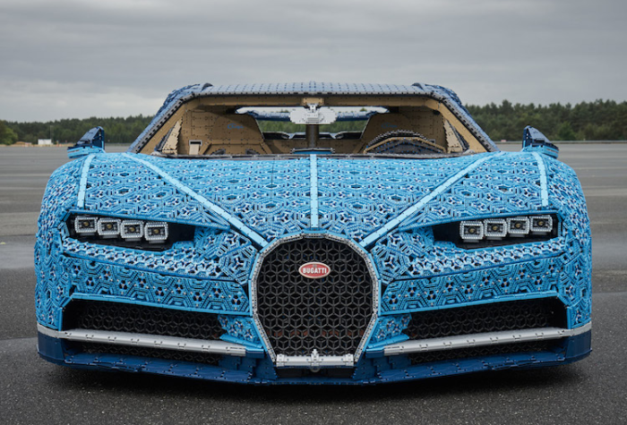 front view of Bugatti Chiron LEGO car