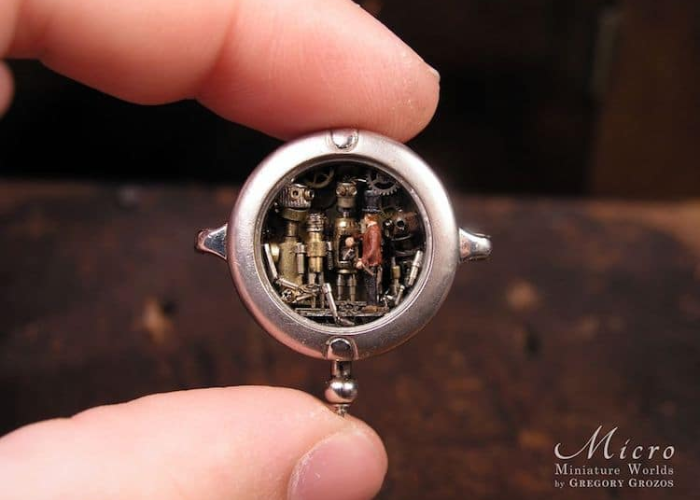 gears in miniature worlds inside pocket watches and pendants