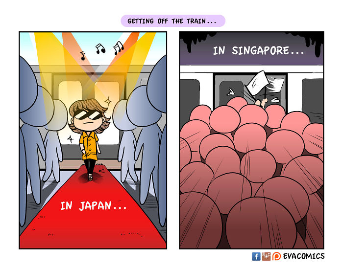 getting off the train comics japan cultural differences by evacomics