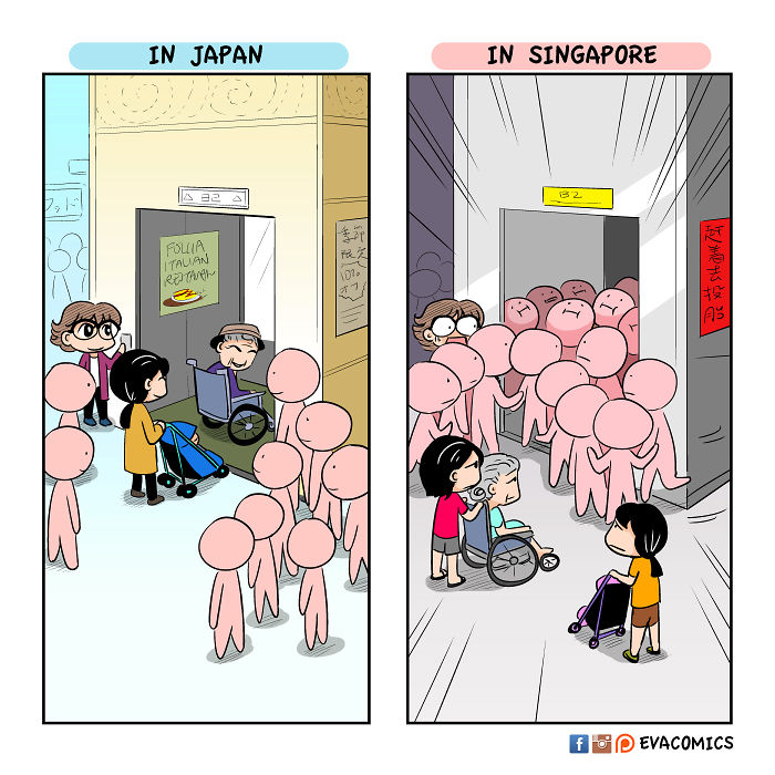 giving way in elevators comics japan cultural differences by evacomics