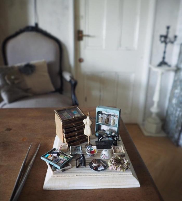 handmade miniatures kiyomi chiisana shiawase on the desk