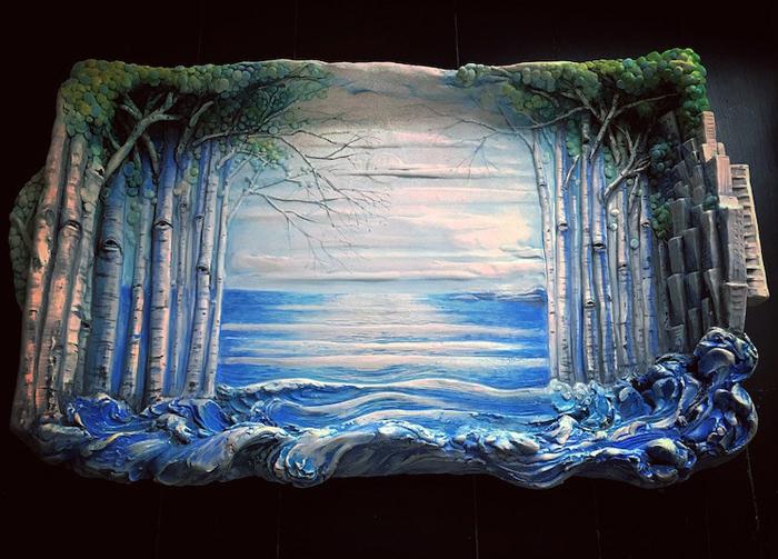 heesoo lee aspen trees ceramic tray