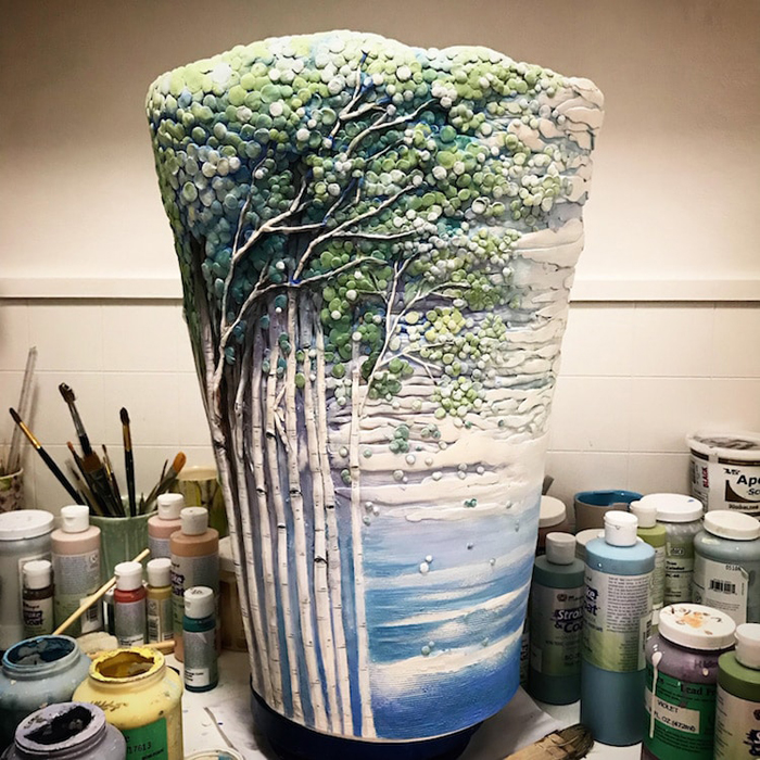 heesoo lee aspen trees ceramic vase