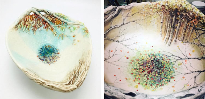 heesoo lee autumn-themed ceramic bowls