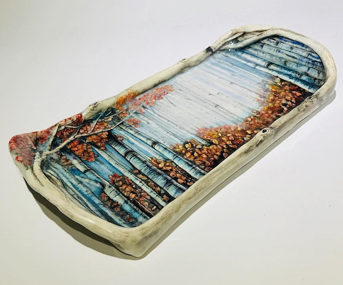 heesoo lee autumn-themed ceramic tray