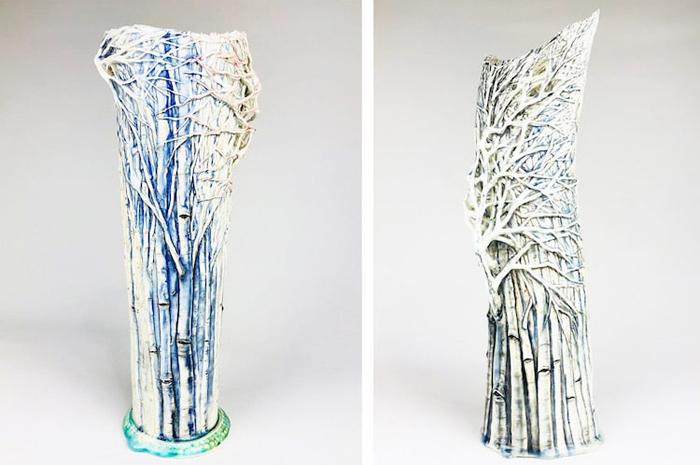 heesoo lee winter-themed ceramic vases